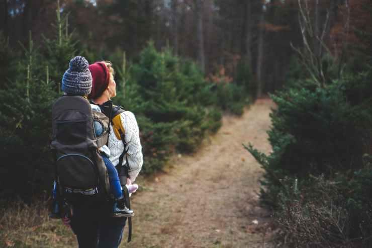 Familieaktivitet; Dame på tur i skogen med barn i bæremeis på ryggen